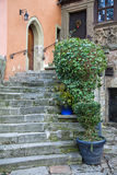 Old backyard with steep staircase Royalty Free Stock Image