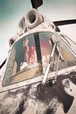 Old, bad Russian ambulance helicopter, front Stock Images