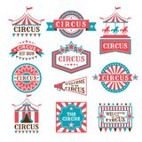 Old badges and labels for carnival and circus show invitation. Monochrome vector logos royalty free illustration