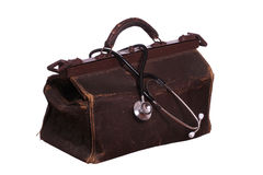 Old bag with stethoscope. On white background Stock Image
