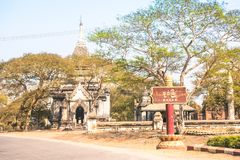 Old Bagan town in Myanmar Burma - Wooden entrance sign to the an Royalty Free Stock Image