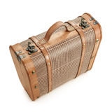 Old baggage. Old suitcase antique style up view Royalty Free Stock Photo