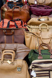 Old bags on a flea market Royalty Free Stock Photos