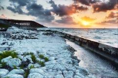 Old Bahia Honda Railroad bridge at sunrise Royalty Free Stock Images