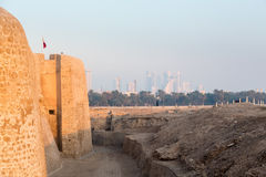 Old Bahrain Fort at Seef in late afternoon Stock Photos
