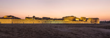 Old Bahrain Fort at Seef at sunset Stock Images