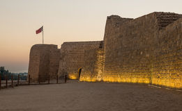 Old Bahrain Fort at Seef at sunset Stock Photography
