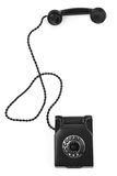 Old bakelite telephone. On white background, gentle natural shadow in front Royalty Free Stock Image
