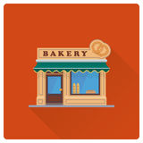 Old bakery shop building flat design vector illustration Royalty Free Stock Photo