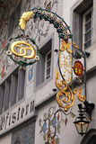 Old bakery sign on medieval building in Lucern, Switzerland Stock Images