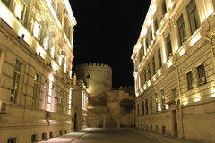 Old town historical architecture, Baku outdoors night scene, Azerbaijan Royalty Free Stock Photography