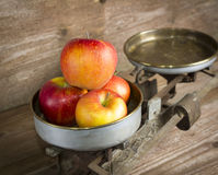 Old balance with apples Stock Image