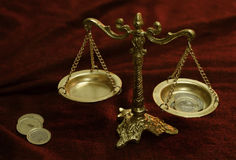 Old balances with coins Royalty Free Stock Photos