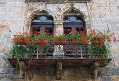 Old balcony. With flowers in Istria, Croatia Stock Images