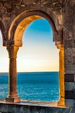 Old balcony with columns. In Portovenere at sunset, Italy Royalty Free Stock Photos