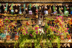 Old balcony decorated with petunias and various utensils Stock Photos