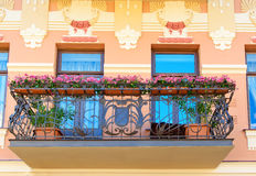 Old balcony of house in Tbilisi Georgia. Royalty Free Stock Images
