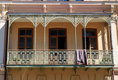 Old balcony of house in Tbilisi Georgia. Royalty Free Stock Photos