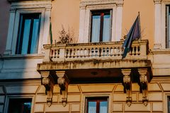 Old balcony in Rome, Italy. Royalty Free Stock Photos