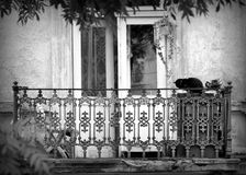 Old balcony, stylized photo by vintage black. Old balcony, stylized photo by vintage Royalty Free Stock Images