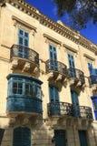 Old balcony in Valletta, Malta. Old balcony details on historical building in Valletta, Malta Stock Photo