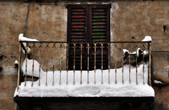 Old balcony in winter Royalty Free Stock Images