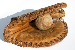Old Ball and Mitt Stock Image