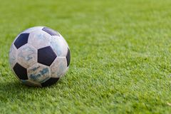 Old ball soccer on new green grass-ground Royalty Free Stock Photography