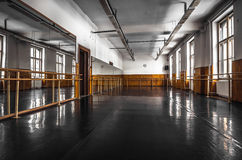 Old ballet hall. Old black ballet hall floor Stock Photos