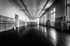 Old ballet hall. Old black ballet hall floor, black and white Stock Image