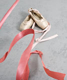 Old ballet shoes Stock Images