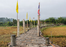 Old Bamboo bridge pass rice field i Stock Photo