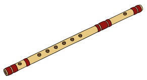 Old bamboo flute. Hand drawing of a classic bamboo flute vector illustration
