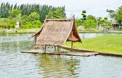 Free Old Bamboo Raft With The Hut Royalty Free Stock Photo - 60970535