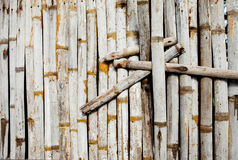 Old bamboo wall with green leaves. Oriental background Stock Photos
