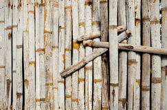 Old bamboo wall with green leaves. Oriental background Stock Images