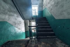 Old bandoned staircase. In empty building Royalty Free Stock Photography