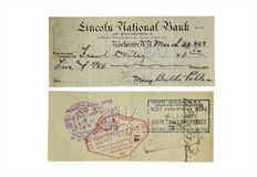 Old bank check. Old American bank check in 1919. check used Royalty Free Stock Photo