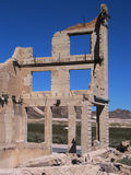Old Bank Ruins. A view from the back of the old bank ruins at Rhyolite, the most photographed building in Nevada stock image