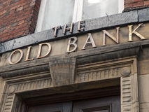 The old bank sign. Above entrance Royalty Free Stock Images