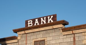 Old Bank Sign. In western ghost town royalty free stock photos
