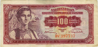 Old banknote. Banknote of 100 dinars of Socialist Yugoslavia, country that exist no more Royalty Free Stock Image