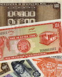 Old banknote from Peru. Old peruvian money of different value in a beautiful composition Royalty Free Stock Photo