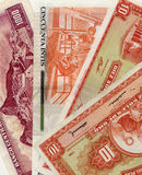 Old banknote from Peru. Old peruvian money of different value in a beautiful composition Royalty Free Stock Photography