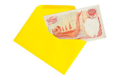 Old banknotes. Old Bank of Thailand in the yellow envelope Royalty Free Stock Image