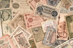 Old banknotes. Some old banknotes abstract background Stock Photos