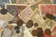 Old banknotes with antic silver and copper coinsvintage backgrou Stock Photo