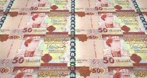 Old banknotes of fifty libyan dinars with the portrait of Gadafi, loop. Series of old banknotes of fifty libyan dinars with the portrait of the dictator Muammar stock illustration