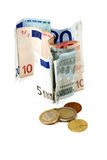 Old Banknotes and Metal Coins Stock Photo