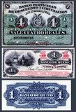 Old banknotes of 4 Reals of the Private Bank of Discount and Circulation, 1 Peso of the Bank of Quito. Stock Photos